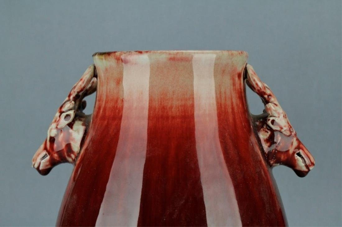 Qing Flame Red Glaze Vase with double Handle - 2