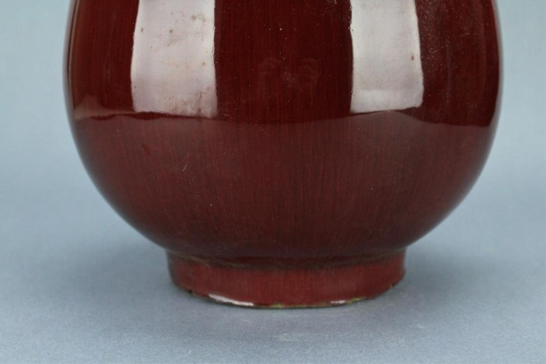 Qing Flame Red Glaze Vase with double Handle - 4