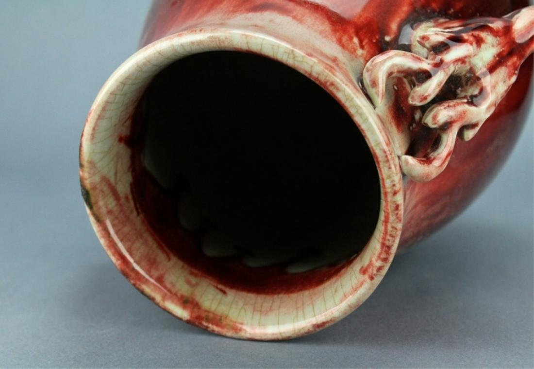 Qing Flame Red Glaze Vase with double Handle - 9