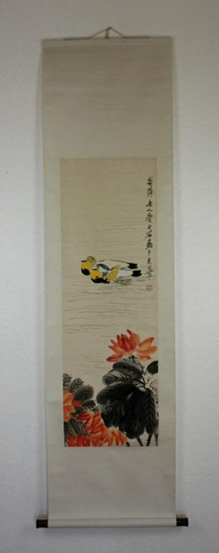 Scrolled Hand Painting signed by Qi Bai Shi - 2