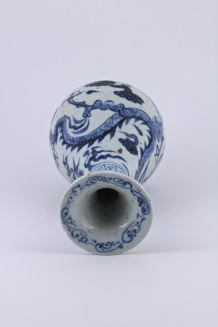 Ming Blue&White Dragon Porcelain Vase - 5