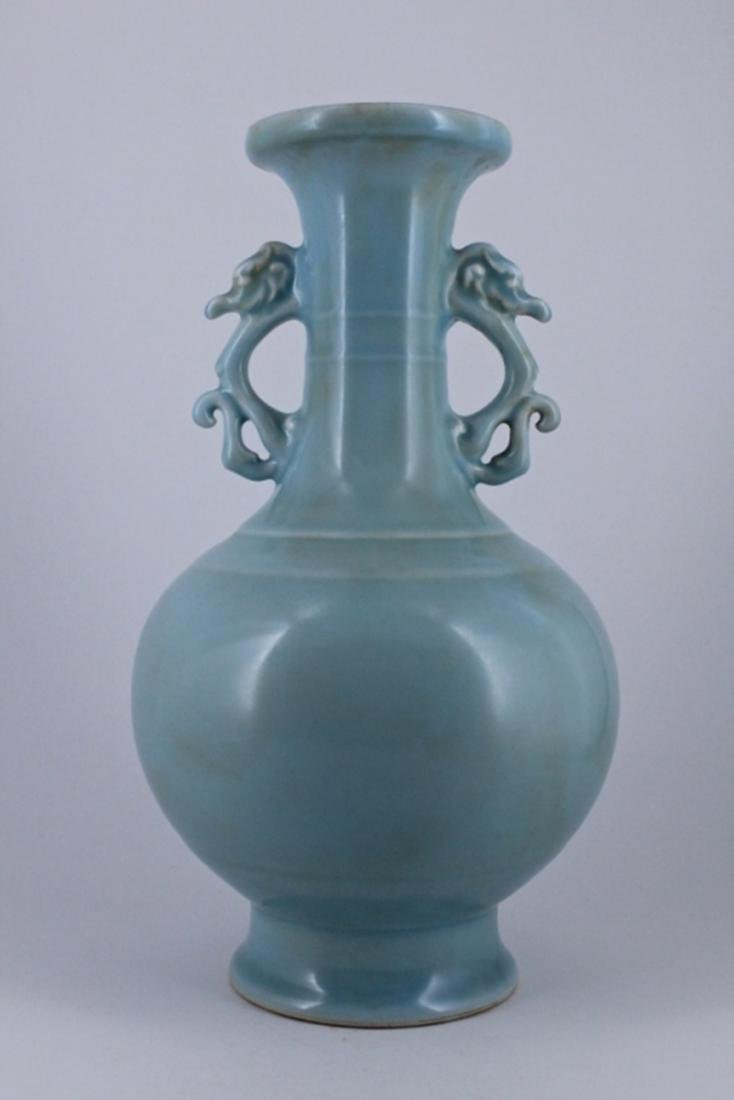 Large Qing Light Blue Floral Double Ear Vase