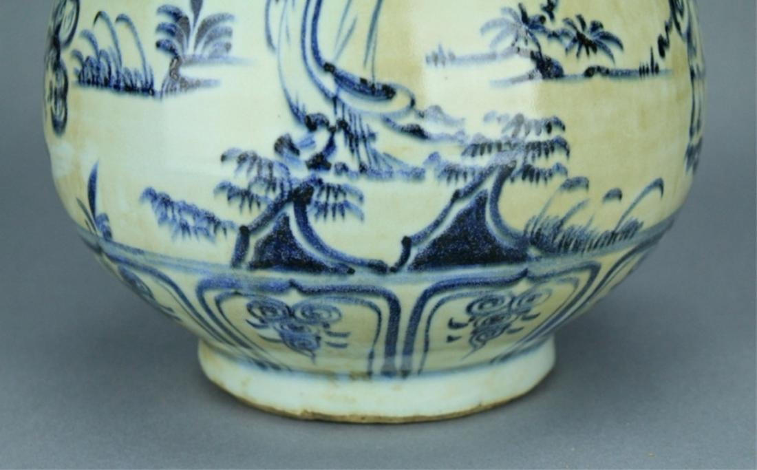 Ming Blue&White Character Porcelain Vase - 5