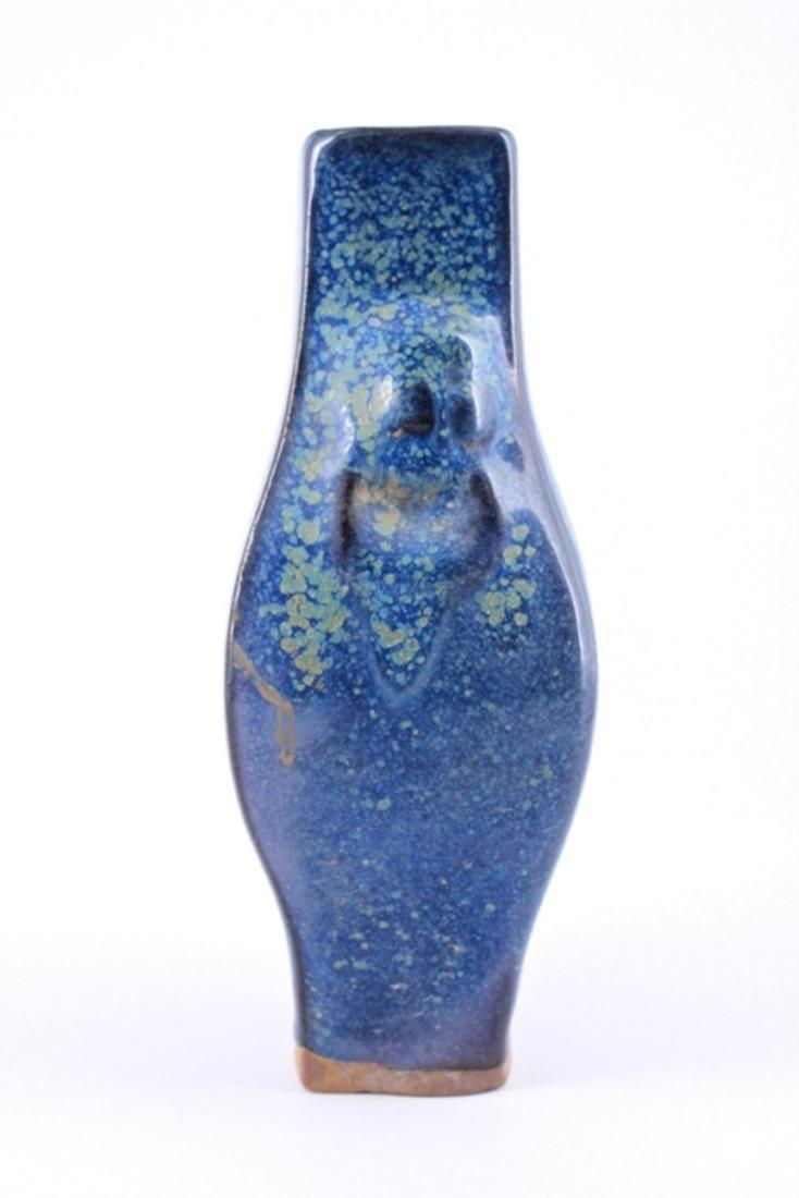 Qing Blue Glaze Porcelain Vase - 3