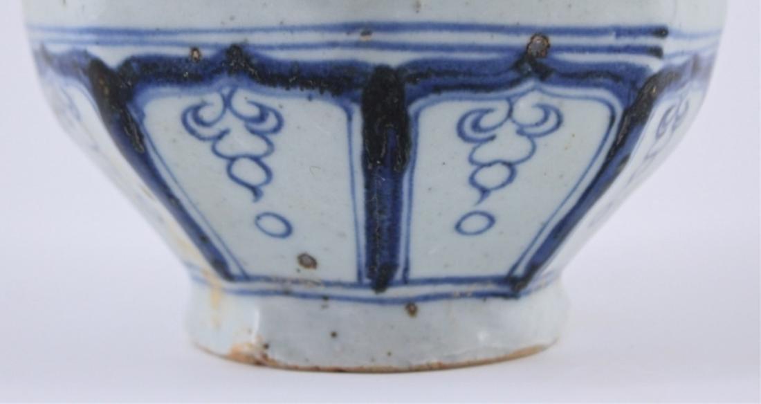 Yuan Blue&White Floral Porcelain Vase - 4