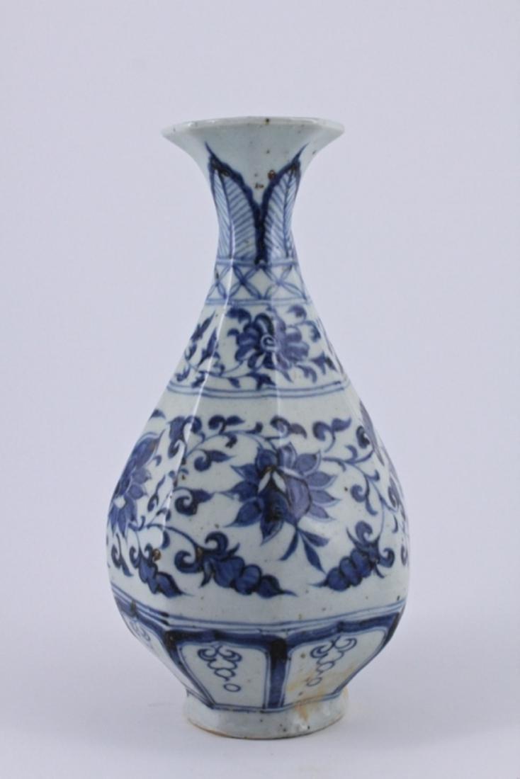 Yuan Blue&White Floral Porcelain Vase - 5