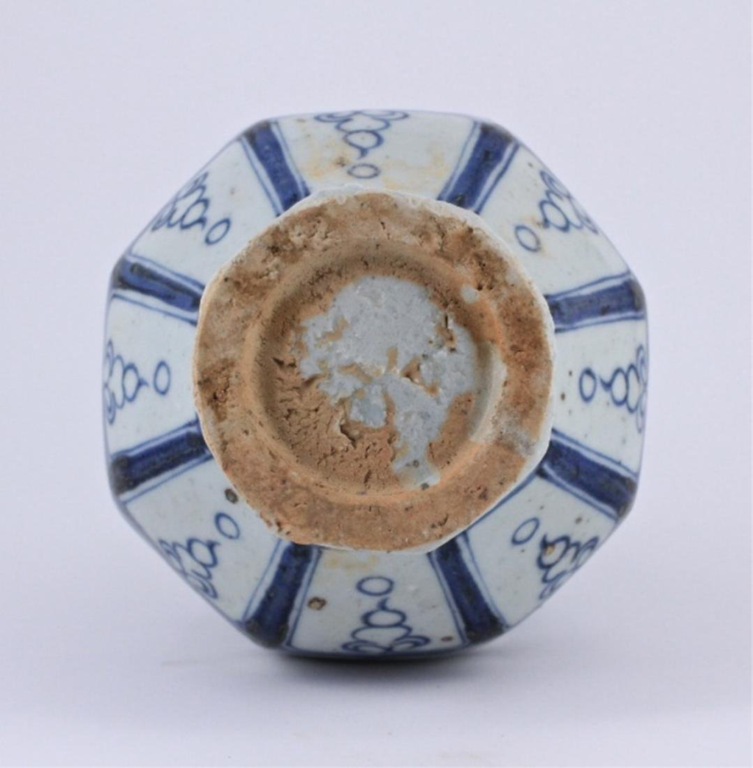Yuan Blue&White Floral Porcelain Vase - 8