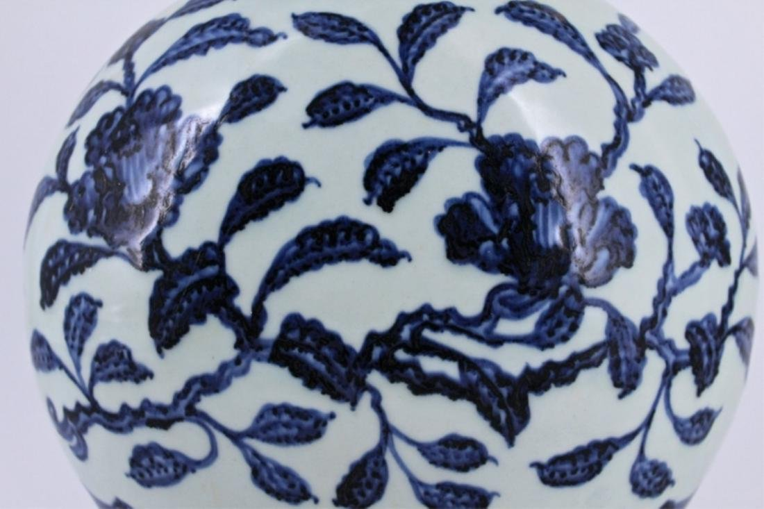 Ming Blue&White Floral Porcelain Moon Flask - 6