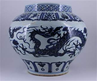 Ming Blue&White Dragon Porcelain Jar