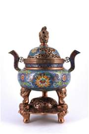 Cloisonne Enamel Tri-Foot Incense Burner Qing