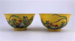 Pair of Famille Rose Porcelain Bowl YongZheng Mark