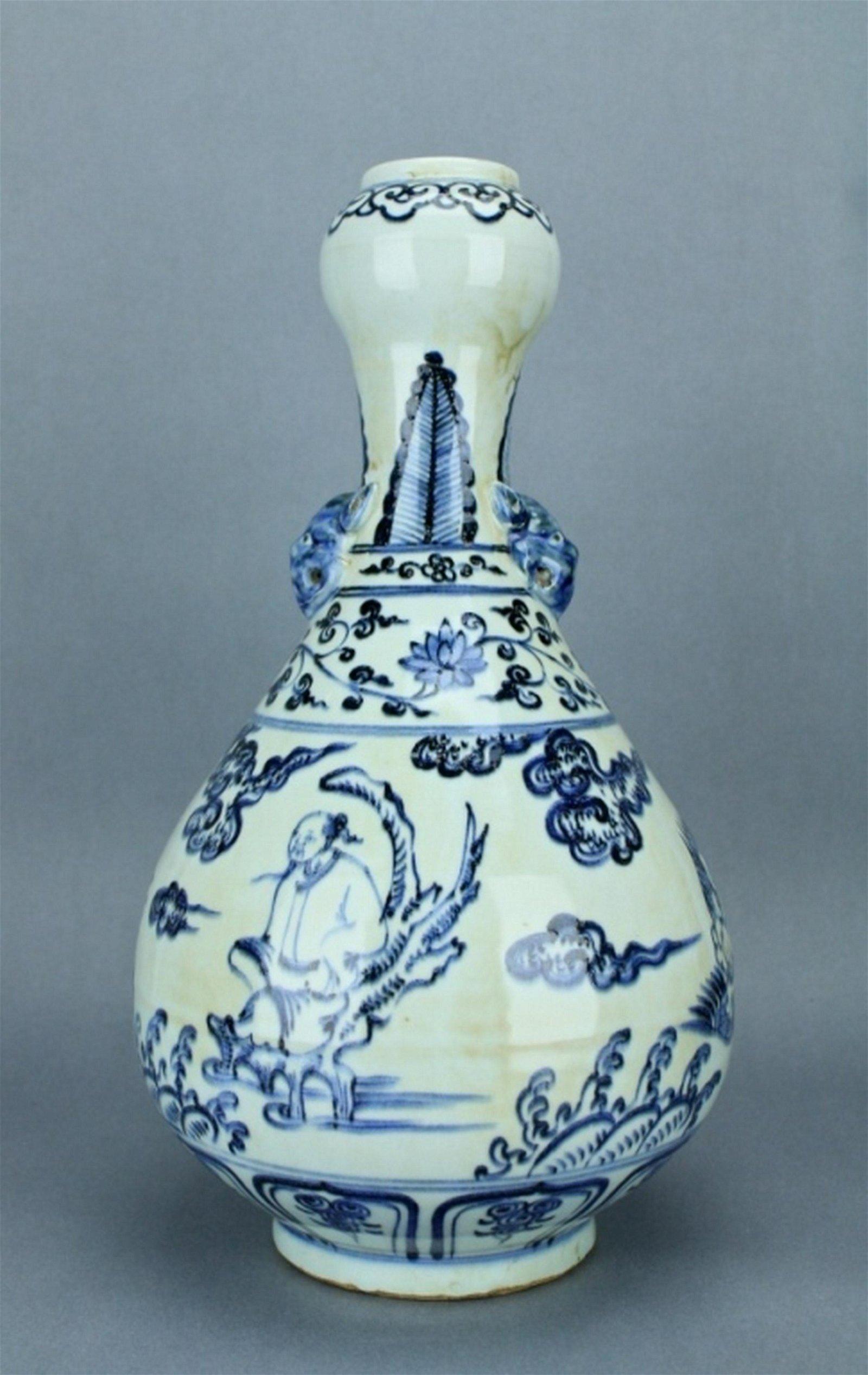 Large Ming Blue&White Porcelain Character Vase