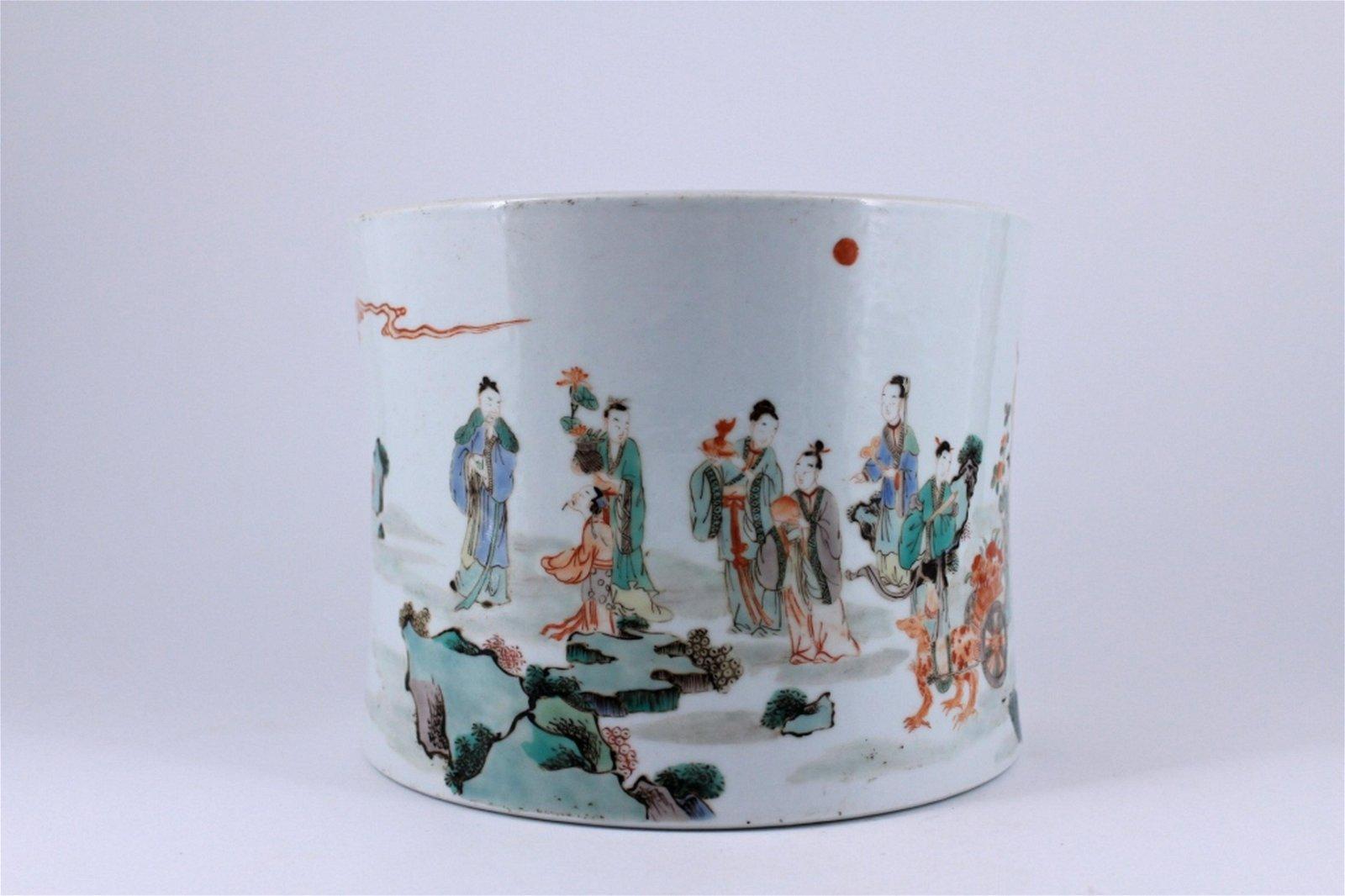 Famille Rose Porcelain Brush Pot Qing Period