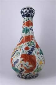 Large JiaJing DouCai Fish Floral Porcelain Vase