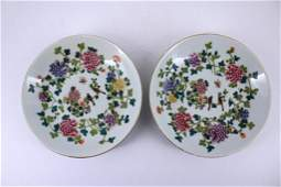 Pair of Famille Rose Floral Plate Qing Mark