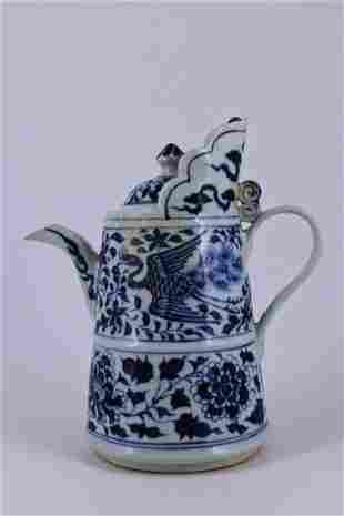 Ming Blue&White Phoenix Porcelain Pot with Lid