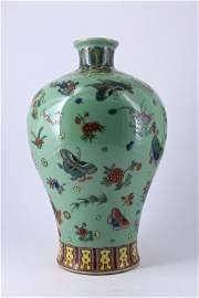 Qing Famille Rose Butterfly Porcelain Vase