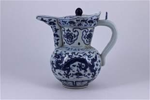 Ming Blue&White Dragon Porcelain Pot