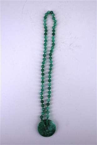 Green jade Bead Necklace with Jade Pendant