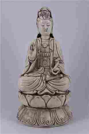 Large Qing Dehua Porcelain GuanYin Figure