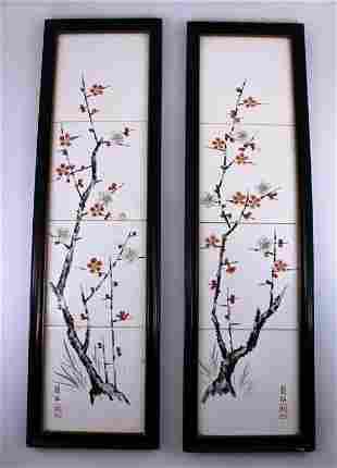 Set of Porcelain Plaque with Wooden Frame Qing