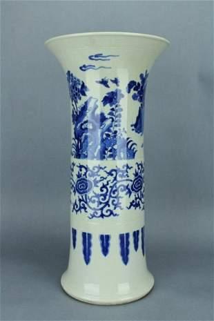 Large Blue&White Long Vase KangXi Mark and Period
