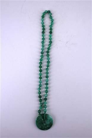 Green jade Bead Necklace with Jade Pendant