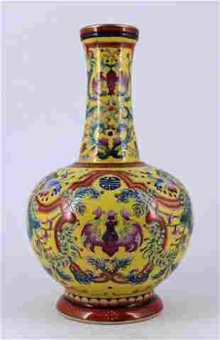 Yellow Floral Famille Rose Porcelain Vase Qing Mar