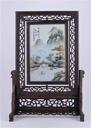 Qing Porcelain Plaque with Wood Frame