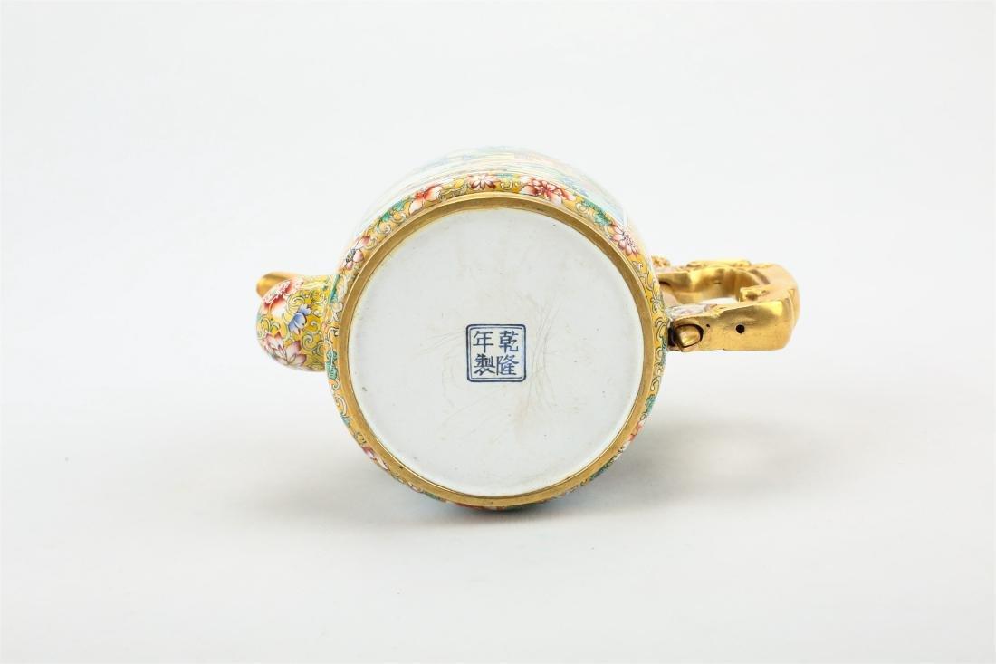 A CHINESE BRONZE ENAMEL WATER POT - 5