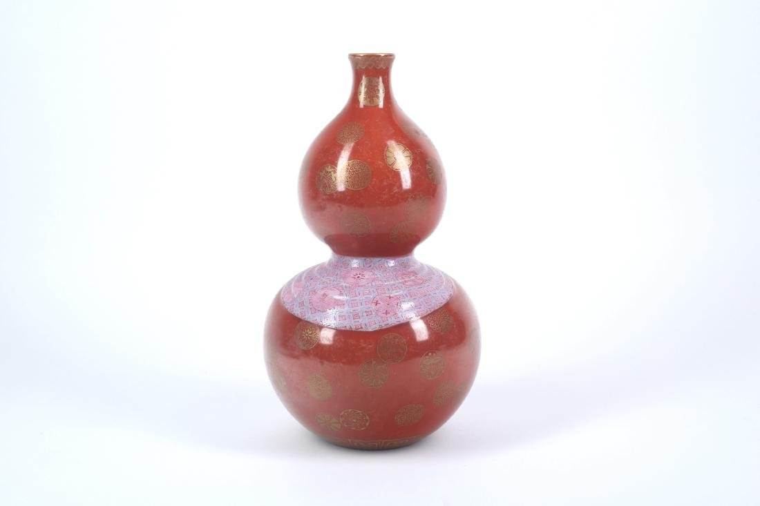 A Chinese Red Glazed Porcelain Double Gourd Vase