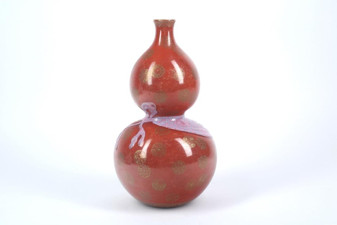 A Chinese Red Glazed Porcelain Double Gourd Vase - 3