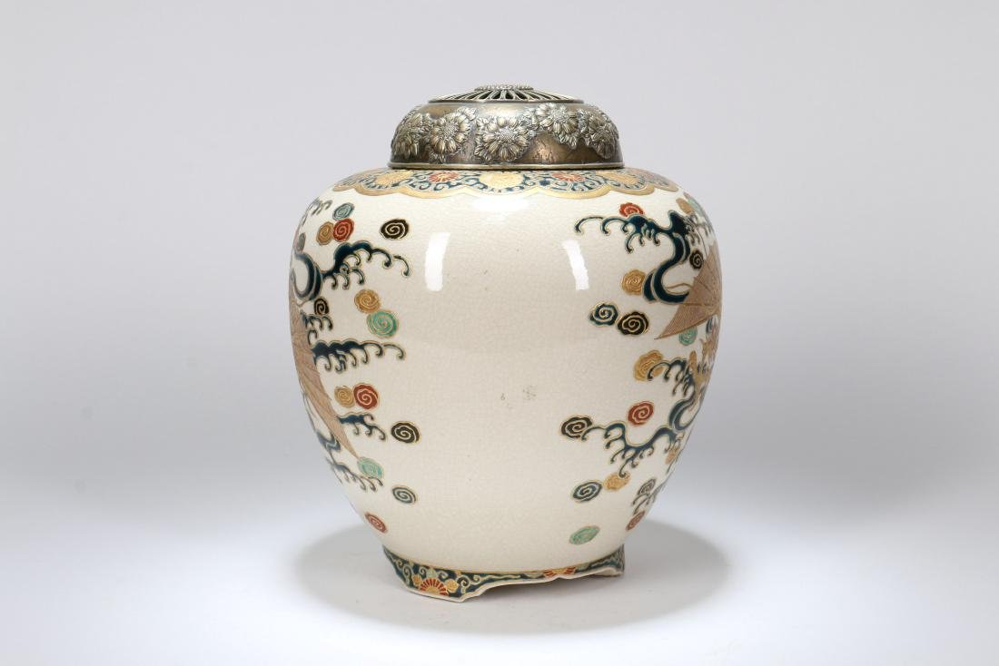 A Japanese Satsuma Censer with Silver Lid - 3