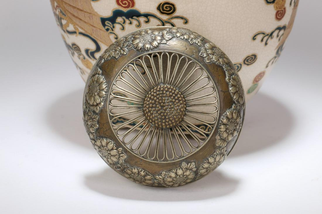 A Japanese Satsuma Censer with Silver Lid - 6