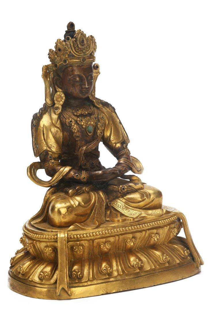 A Chinese Gilt Bronze Buddha - 3
