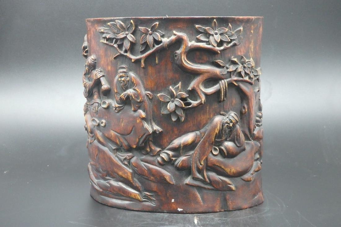 A Chinese Carved Hard Wood Brush Pot