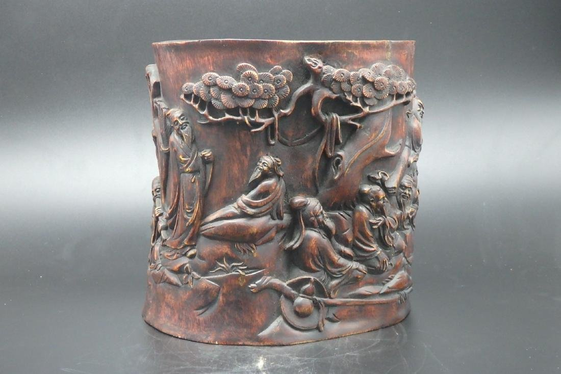 A Chinese Carved Hard Wood Brush Pot - 4