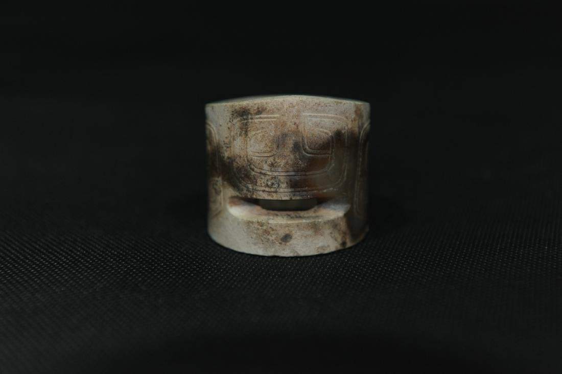 A Chinese Carved Old Jade Ring