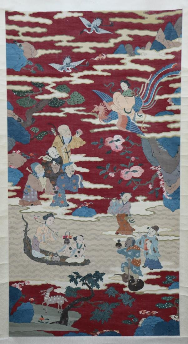 A Chinese Kesi Embroidery Panel of Eight Immortals