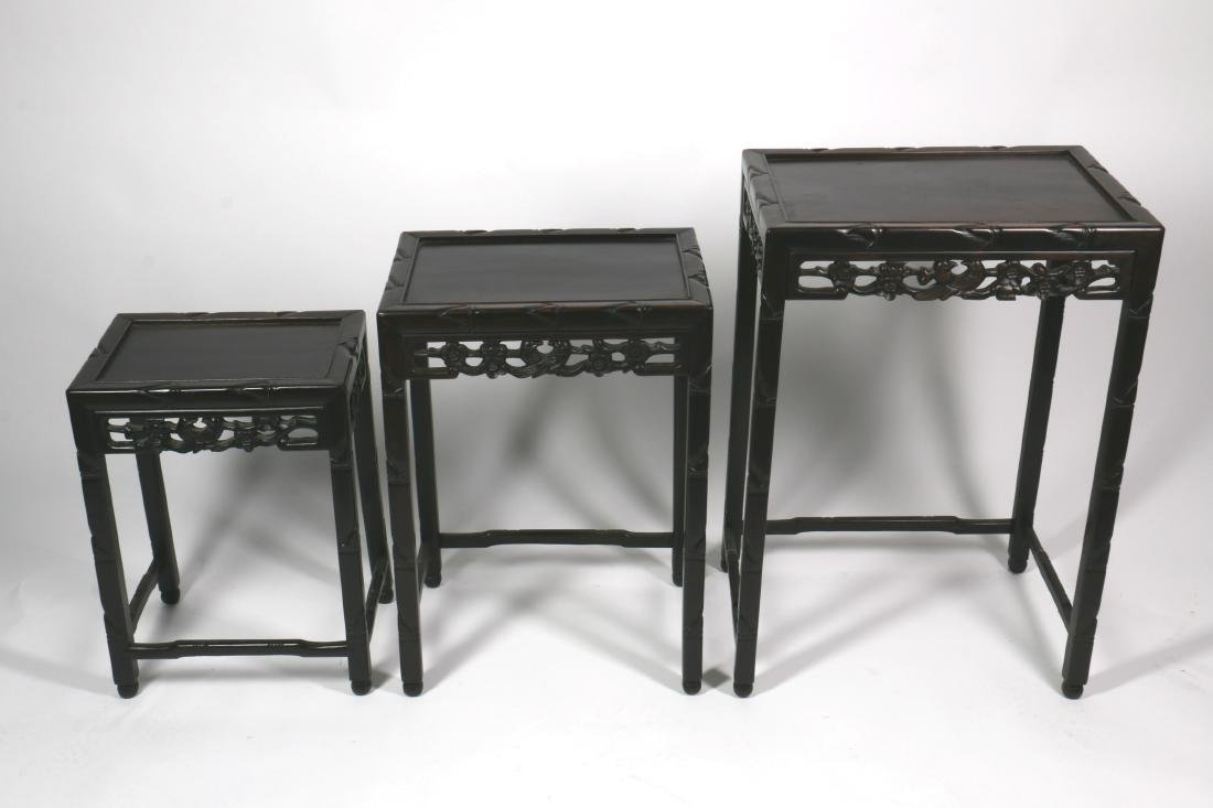 A Set of Three Chinese Rosewood End Table