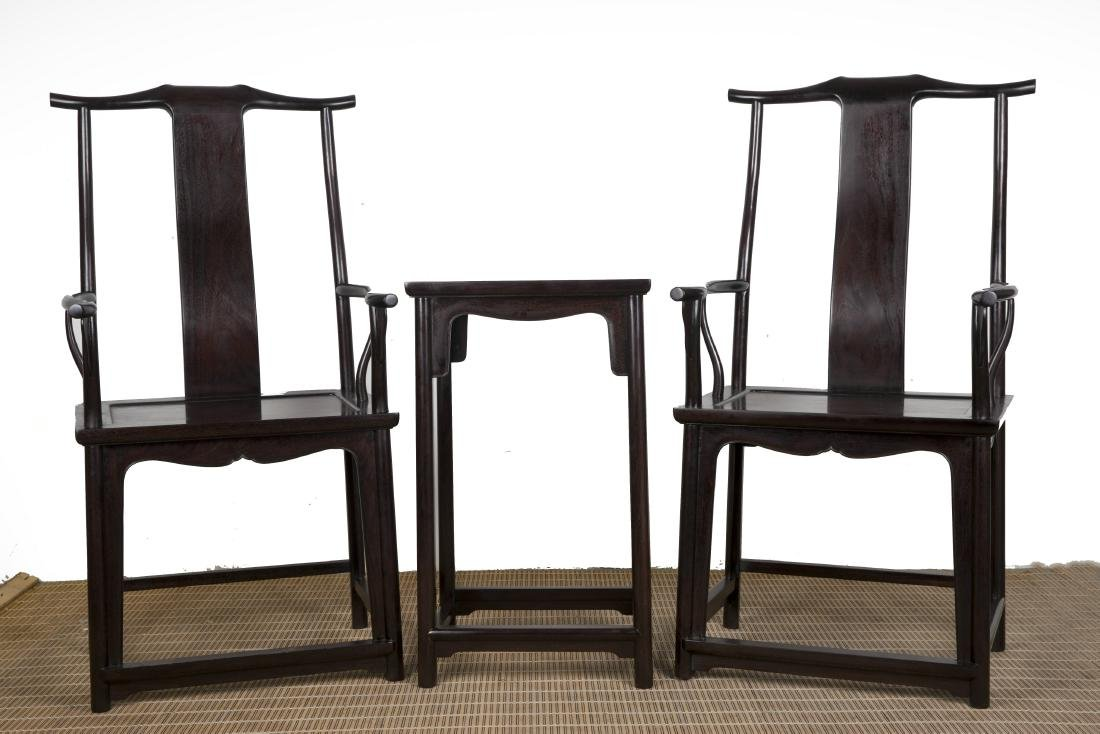 A Pair of Chinese Zitan Chairs with End Table
