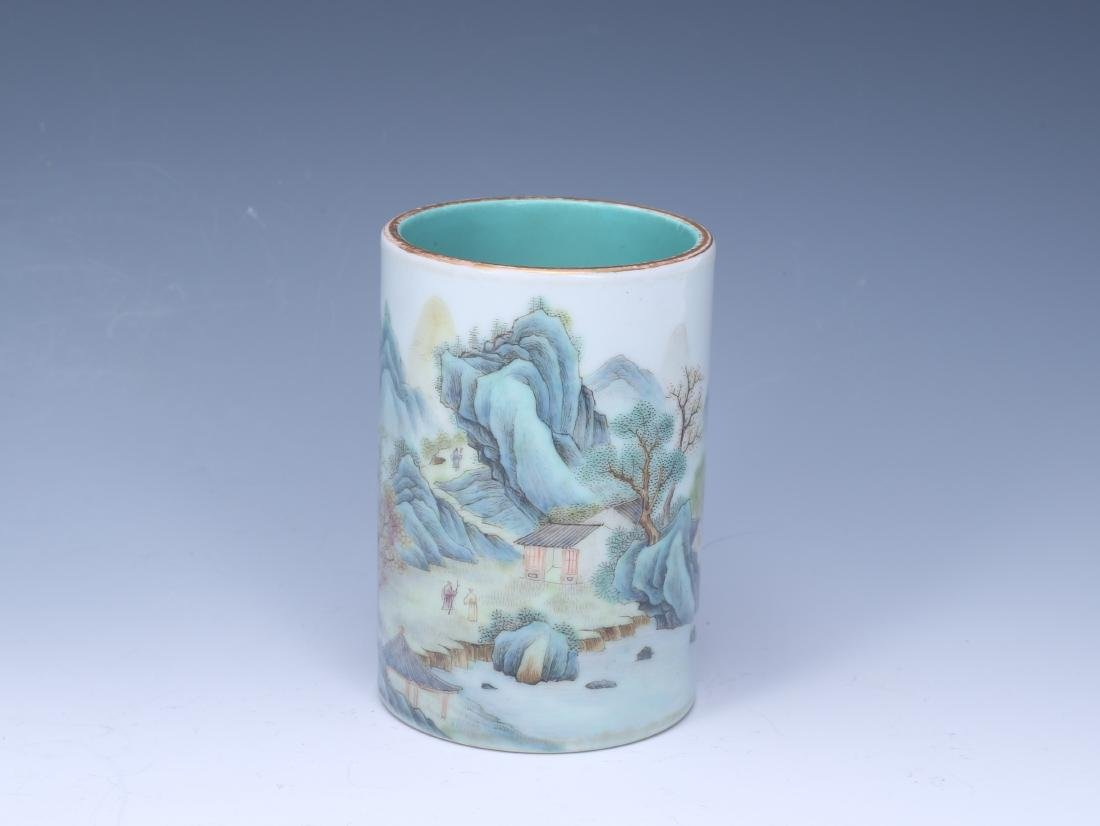 A Chinese Famille-Rose Porcelain Brush Pot