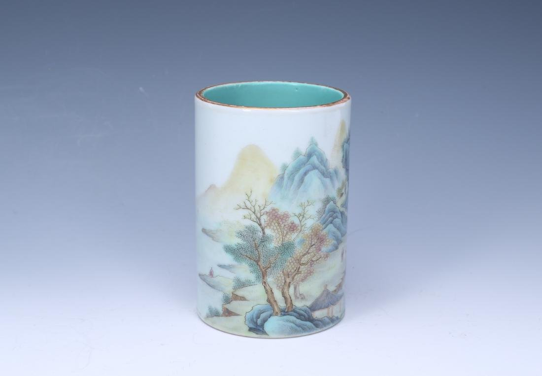 A Chinese Famille-Rose Porcelain Brush Pot - 2