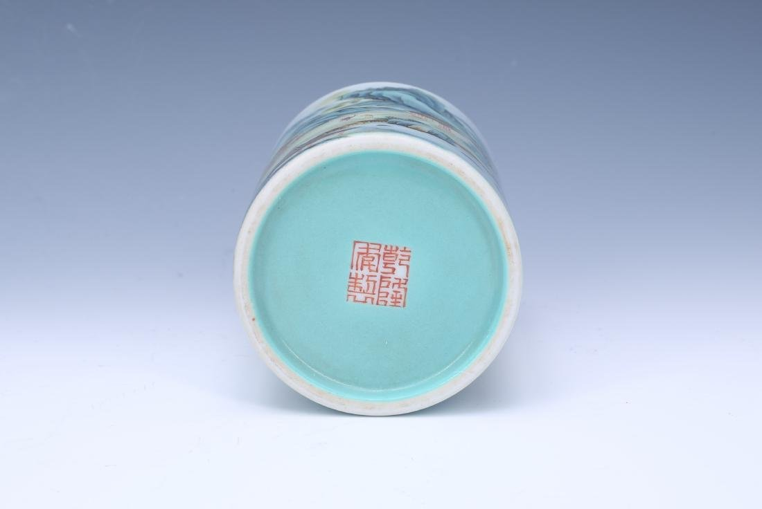 A Chinese Famille-Rose Porcelain Brush Pot - 4