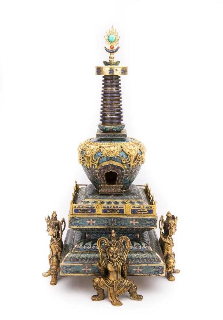 A Chinese Cloisonné Buddha Tower