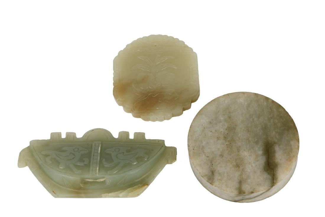 A Set of Three Carved Jade pendants - 2