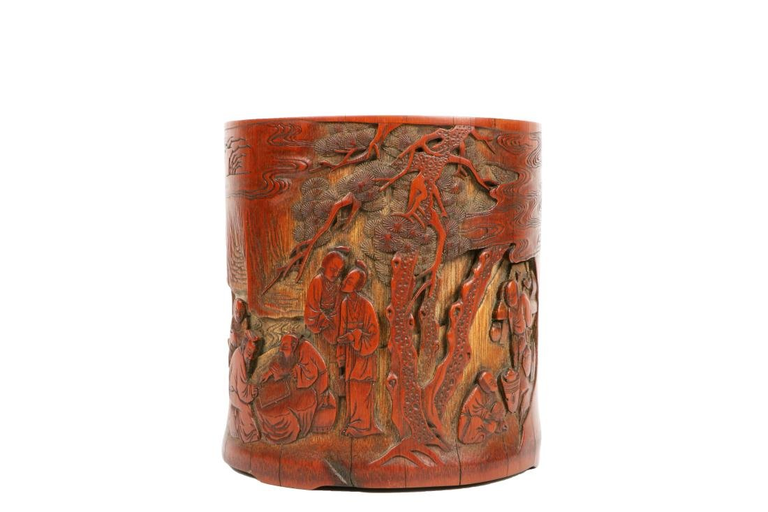 A Chinese Carved Bamboo Brush Pot - 2