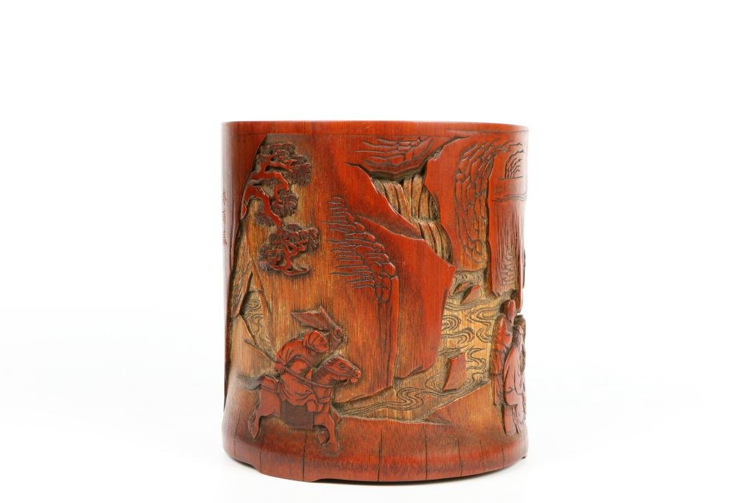 A Chinese Carved Bamboo Brush Pot - 4