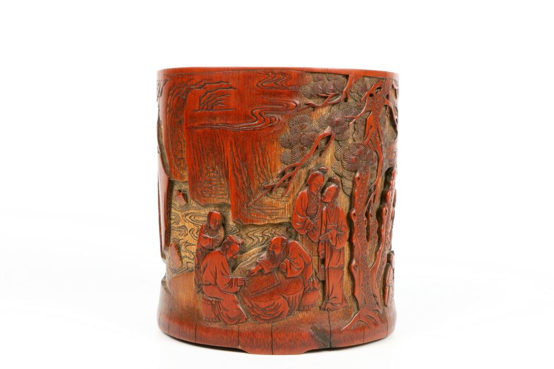 A Chinese Carved Bamboo Brush Pot - 5
