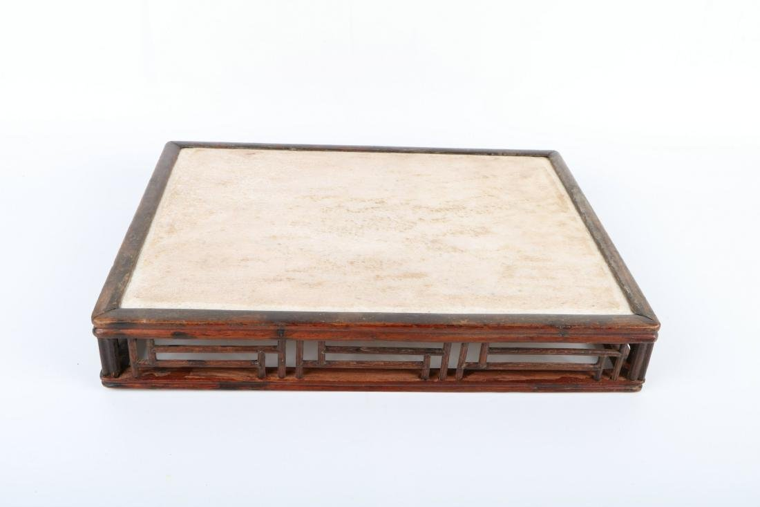 A Chinese Carved Rosewood Stand with Jade